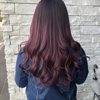 ピンク ロング デート ガーリー ヘアスタイルや髪型の写真・画像