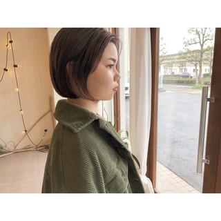 ショートボブ 黒髪 前下がりショート ナチュラル ヘアスタイルや髪型の写真・画像