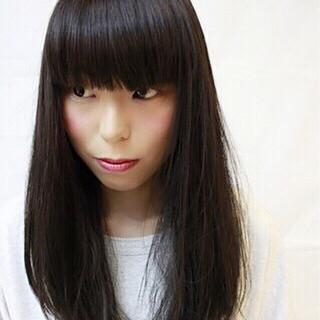 セミロング 前髪パッツン ワンカール ストリート ヘアスタイルや髪型の写真・画像