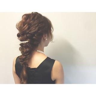 外国人風 ロング 編み込み 簡単ヘアアレンジ ヘアスタイルや髪型の写真・画像