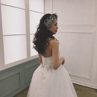 ヘアアクセサリー ダウンスタイル 結婚式 ヘアアレンジ ヘアスタイルや髪型の写真・画像