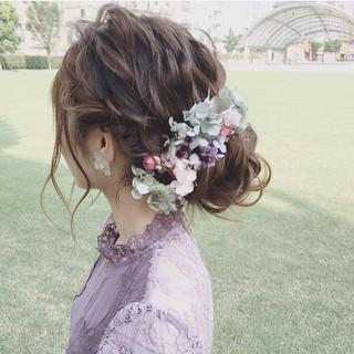 ヘアアレンジ 大人かわいい 結婚式 セミロング ヘアスタイルや髪型の写真・画像