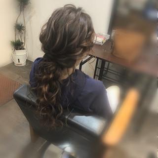 フェミニン ヘアセット ロング ヘアアレンジ ヘアスタイルや髪型の写真・画像