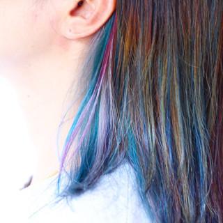 ピンクアッシュ ナチュラル セミロング ベリーピンク ヘアスタイルや髪型の写真・画像