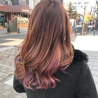インナーカラー グラデーションカラー エレガント ピンク ヘアスタイルや髪型の写真・画像