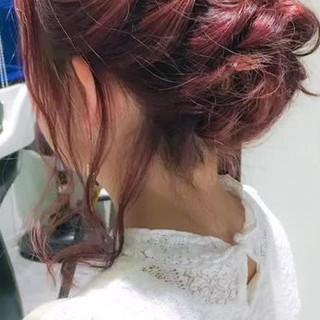 くるりんぱ ミディアム ルーズ まとめ髪 ヘアスタイルや髪型の写真・画像
