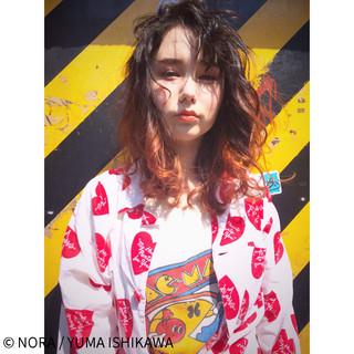 ストリート グラデーションカラー オレンジ コーラル ヘアスタイルや髪型の写真・画像