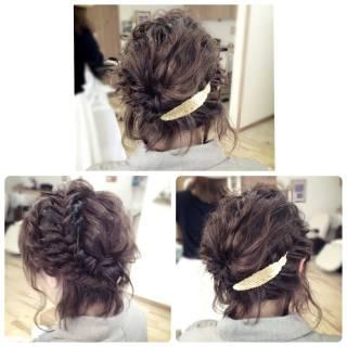 アップスタイル ロング まとめ髪 編み込み ヘアスタイルや髪型の写真・画像