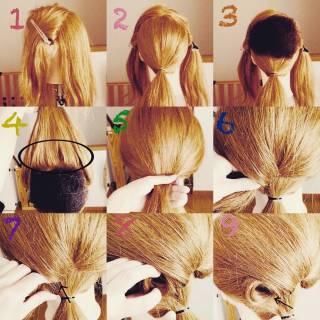 アップスタイル ヘアアレンジ セミロング お祭り ヘアスタイルや髪型の写真・画像