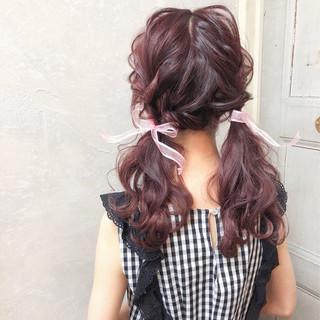 ガーリー 簡単ヘアアレンジ セミロング デート ヘアスタイルや髪型の写真・画像 ヘアスタイルや髪型の写真・画像