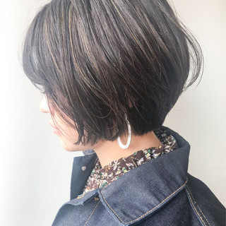 大人かわいい 女子力 ハイライト ショートボブ ヘアスタイルや髪型の写真・画像