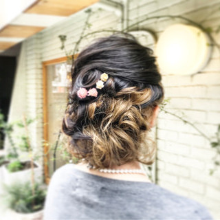ボブ 結婚式 編み込み ナチュラル ヘアスタイルや髪型の写真・画像