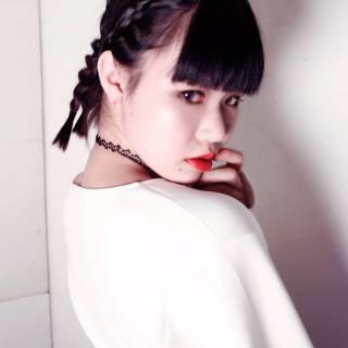ロング 黒髪 コーンロウ ヘアアレンジ ヘアスタイルや髪型の写真・画像