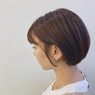 ミニボブ ショート ショートボブ モカベージュ ヘアスタイルや髪型の写真・画像