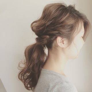 セミロング ポニーテール ショート 大人かわいい ヘアスタイルや髪型の写真・画像