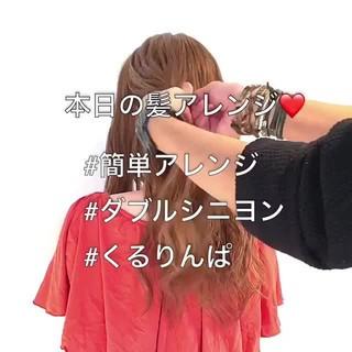 ヘアアレンジ フェミニン ねじり 簡単ヘアアレンジ ヘアスタイルや髪型の写真・画像