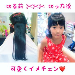 ナチュラル 子供 簡単ヘアアレンジ ボブ ヘアスタイルや髪型の写真・画像