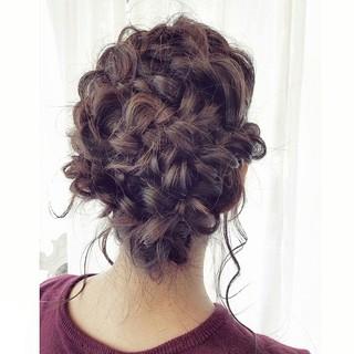 フェミニン ヘアアレンジ 暗髪 簡単ヘアアレンジ ヘアスタイルや髪型の写真・画像