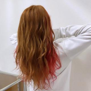 ガーリー ハイトーン 派手髪 オレンジ ヘアスタイルや髪型の写真・画像