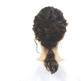 ロープ編み ヘアアレンジ ローポニーテール 大人かわいい ヘアスタイルや髪型の写真・画像
