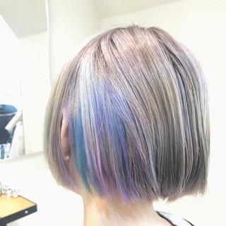 グラデーションカラー グレージュ ボブ バレイヤージュ ヘアスタイルや髪型の写真・画像