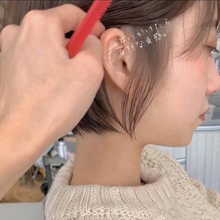 ナチュラル デート ショートヘア 切りっぱなしボブ ヘアスタイルや髪型の写真・画像 | ショートボブの匠【 山内大成 】『i.hair』 / 『 i. 』 omotesando