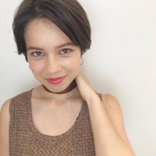 デート ショート ナチュラル 透明感カラー ヘアスタイルや髪型の写真・画像
