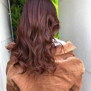 ロング インナーカラー オレンジカラー 大人ロング ヘアスタイルや髪型の写真・画像