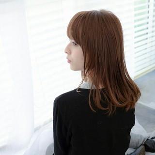 小顔 ふわふわ セミロング 前髪あり ヘアスタイルや髪型の写真・画像