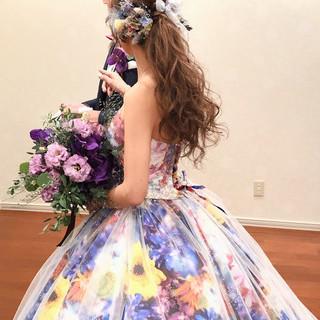 フェミニン ヘアセット ねじり ブライダル ヘアスタイルや髪型の写真・画像