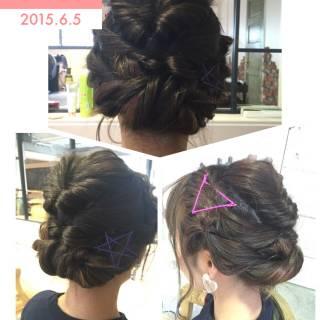 ヘアアレンジ ねじり セミロング ナチュラル ヘアスタイルや髪型の写真・画像