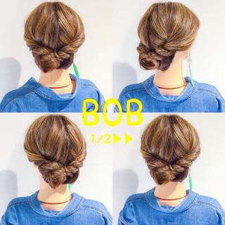 オフィス ヘアアレンジ ボブ 上品 ヘアスタイルや髪型の写真・画像
