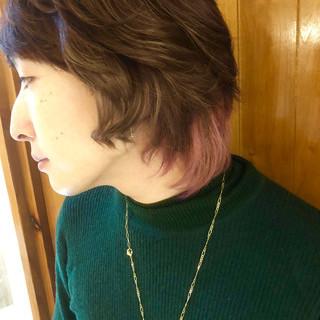 ガーリー ミディアム ベージュ ピンク ヘアスタイルや髪型の写真・画像