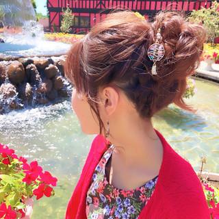 フェミニン 結婚式 セミロング ヘアアレンジ ヘアスタイルや髪型の写真・画像