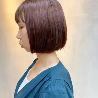 切りっぱなしボブ 外国人風カラー ナチュラル ボブ ヘアスタイルや髪型の写真・画像