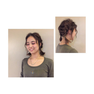 ヘアアレンジ ボブ 編み込み ショート ヘアスタイルや髪型の写真・画像