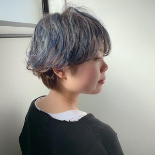 ミルクティーベージュ アッシュグレージュ ショート ヌーディベージュ ヘアスタイルや髪型の写真・画像