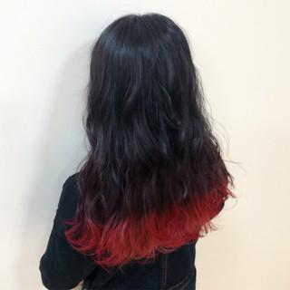 ヘアカラー ストリート レッドカラー ロング ヘアスタイルや髪型の写真・画像