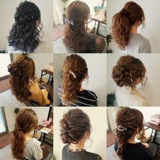 ポニーテール フェミニン ヘアアレンジ セミロング ヘアスタイルや髪型の写真・画像