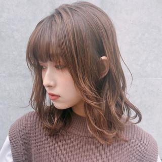 デジタルパーマ 大人かわいい ナチュラル ミディアム ヘアスタイルや髪型の写真・画像