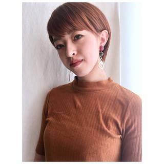 ショートヘア オレンジベージュ マッシュショート ショート ヘアスタイルや髪型の写真・画像