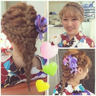 和装 セミロング 編み込み お祭り ヘアスタイルや髪型の写真・画像