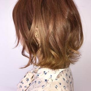 ボブ イエロー ガーリー ヘアアレンジ ヘアスタイルや髪型の写真・画像