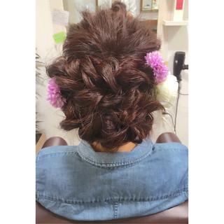 アッシュ ヘアアレンジ セミロング 暗髪 ヘアスタイルや髪型の写真・画像