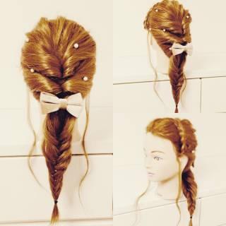 三つ編み ショート くるりんぱ 簡単ヘアアレンジ ヘアスタイルや髪型の写真・画像