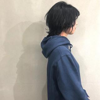 ショート ネイビー ウルフカット ネイビーブルー ヘアスタイルや髪型の写真・画像