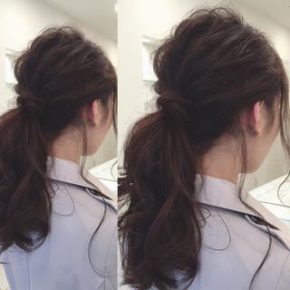 ヘアアレンジ セミロング 夏 ルーズ ヘアスタイルや髪型の写真・画像