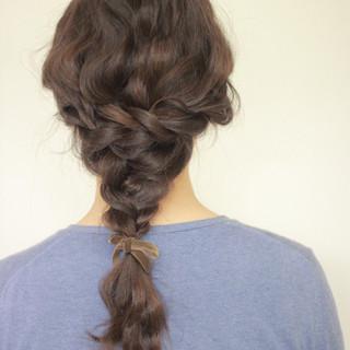 編み込み セミロング まとめ髪 ヘアアレンジ ヘアスタイルや髪型の写真・画像