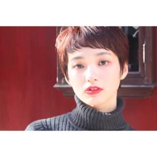 ショート モード ナチュラル 暗髪 ヘアスタイルや髪型の写真・画像
