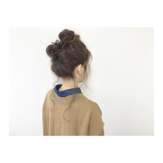 アップスタイル メッシーバン セミロング 簡単ヘアアレンジ ヘアスタイルや髪型の写真・画像